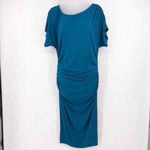 JustFab Teal Stretch Dress With Rushing